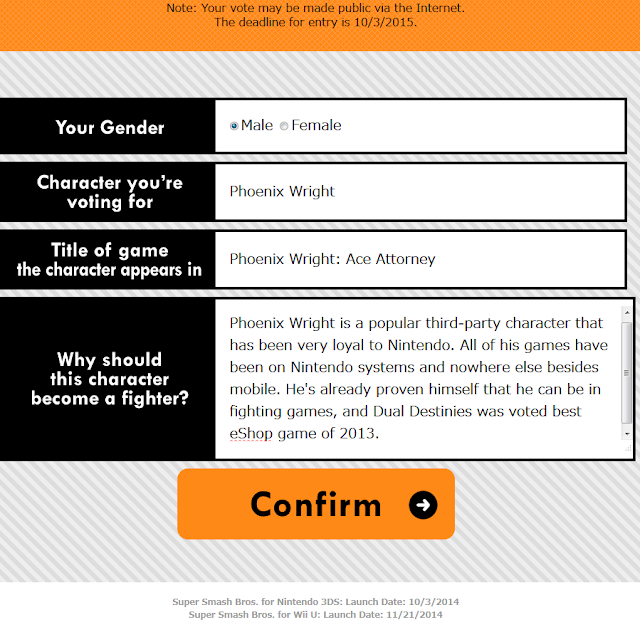 Phoenix Wright Ace Attorney Smash Bros. Fighter Ballot