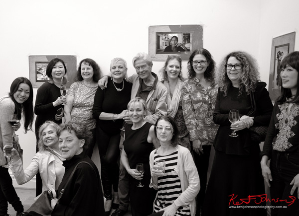Brett Hilder and female friends at the Habana Story book launch and pop-up photography show. Badger and Fox Gallery Surry Hills.