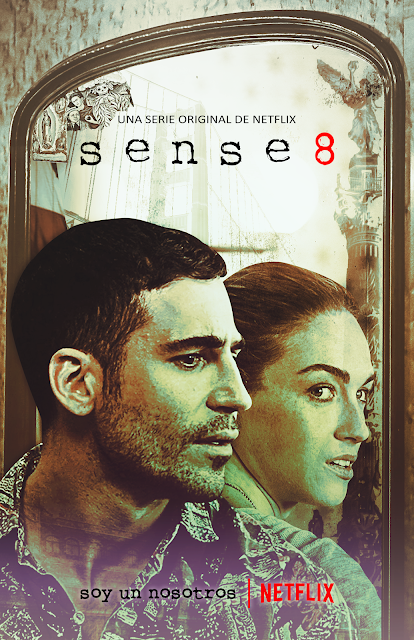 Image description: a Sense 8 fanmade poster showing Lito in front of a mirror, where the reflection shows Nomi. End description