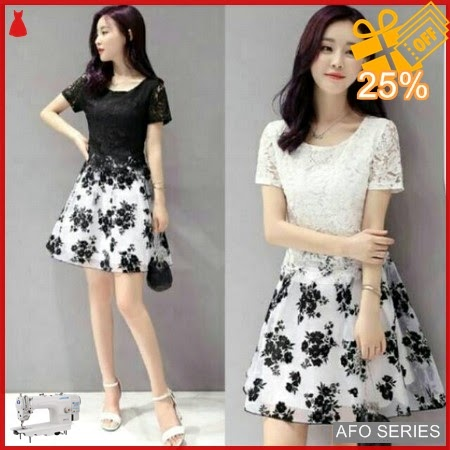 AFO115 Model Fashion Dress Flower Brukat Modis Murah BMGShop