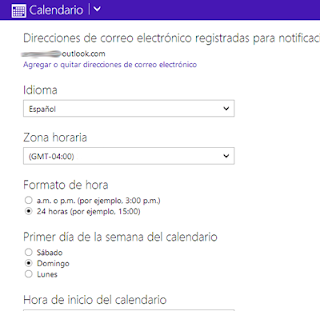configurar calendario outlook