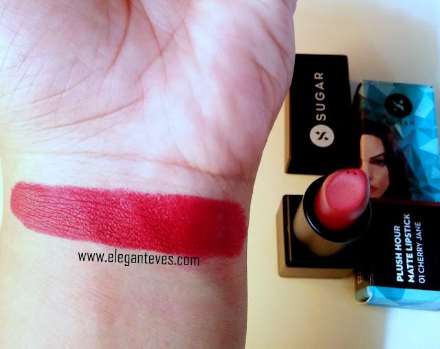 SUGAR Plush Hour Matte Lipstick 01 Cherry Jane review swatch