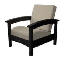 Trex Outdoor Furniture Rockport Club Charcoal Black Arm Chair with Birds Eye Sunbrella Cushion