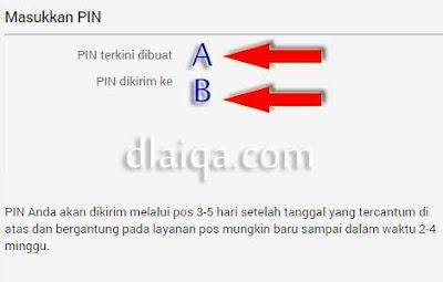 informasi tanggal pembuatan PIN dan alamat tujuan