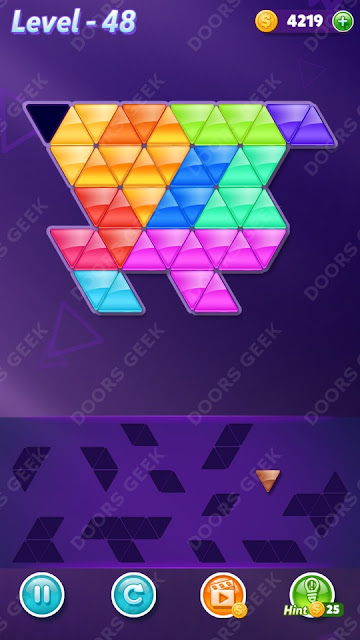 Block! Triangle Puzzle 12 Mania Level 48 Solution, Cheats, Walkthrough for Android, iPhone, iPad and iPod