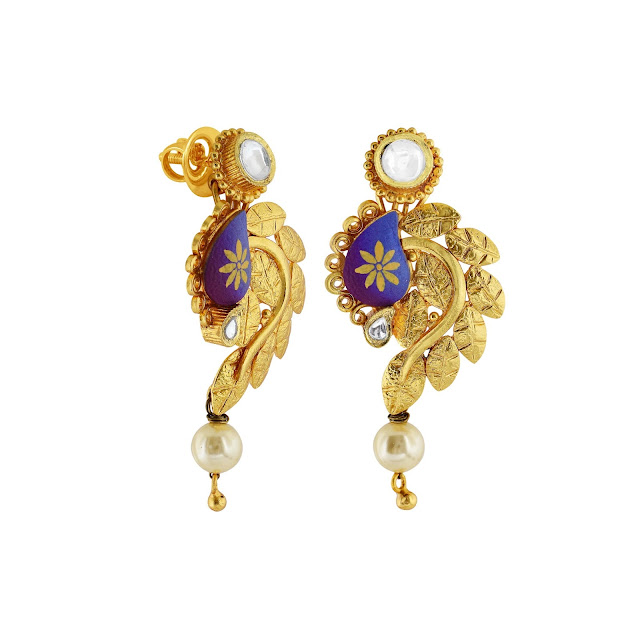 Nature inspired earrings curated in sterling silver defined in a gold-plated tone with semi-precious pearls& kundan by Izaara