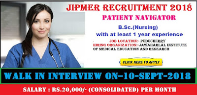 Patient Navigator Vacancy in JIPMER Puducherry 2018