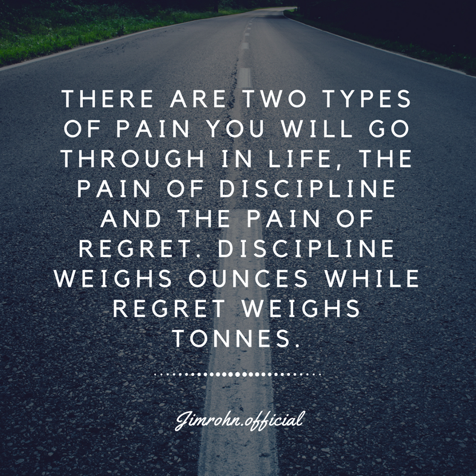 There are two types of pain you will go through in life, the pain of .. Jim Rohn quotes