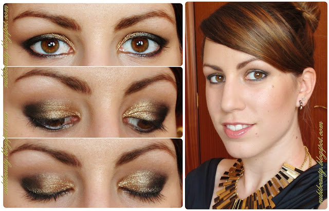 Rubibeauty tutorial makeup look maquillaje noche gold night star paso a paso ojos