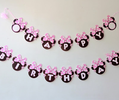 Bunting Banner Happy Birthday Motif Minnie Mouse