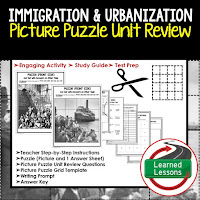 American History Picture Puzzles are great for TEST PREP, UNIT REVIEWS, TEST REVIEWS, and STUDY GUIDES, Immigration and Urbanization