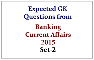 Expected GK Questions from Banking Current Affairs 2015 Set-2