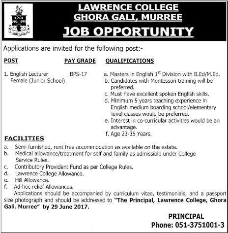 English Teacher Jobs In Lawrence College Murree 13 June 2017