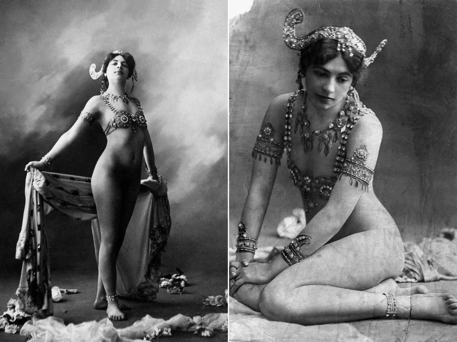 Mata Hari brought a carefree provocative style to the stage in her act, which garnered wide acclaim. The most celebrated segment of her act was her progressive shedding of clothing until she wore just a jeweled bra and some ornaments upon her arms and head.
