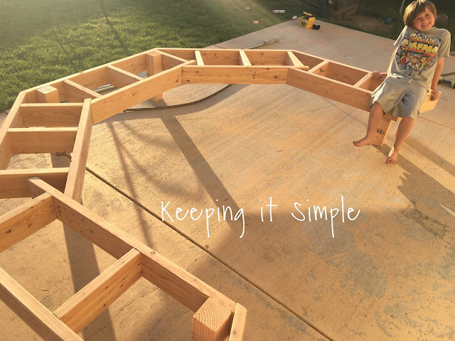 Keeping it simple diy fire pit sofa bench with step by for Step by step fire pit