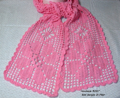 Pink Lace Flower Scarf in Filet Crochet - Handmade by Ruth Sandra Sperling as RSS Designs In Fiber