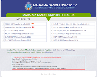 MGU Degree Supply Result 2016