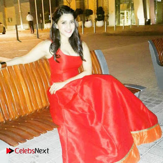 Actress Mannara Chopra Pictures in Red Dress at Dubai 0001