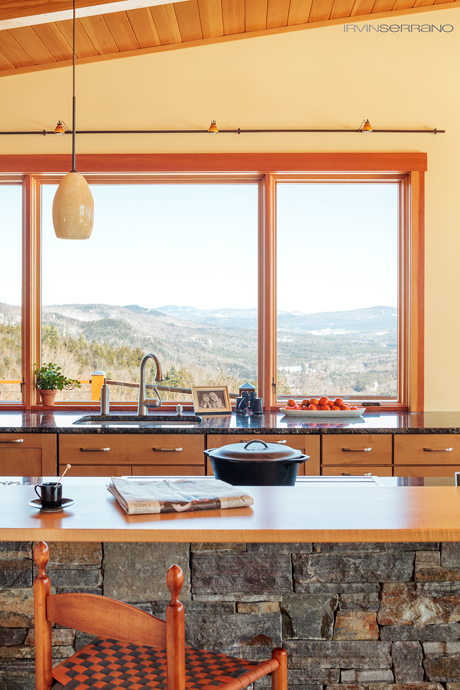 American and Corinthian granite, crafted by Keystone Masonry in Maine, brings the natural elements of the surrounding woods and moutains indoors.
