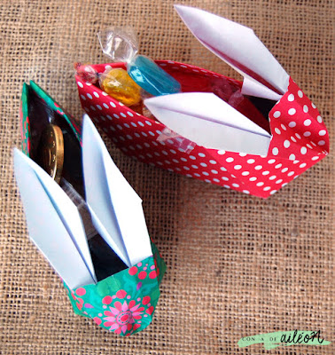 origami conejo bunny cesta