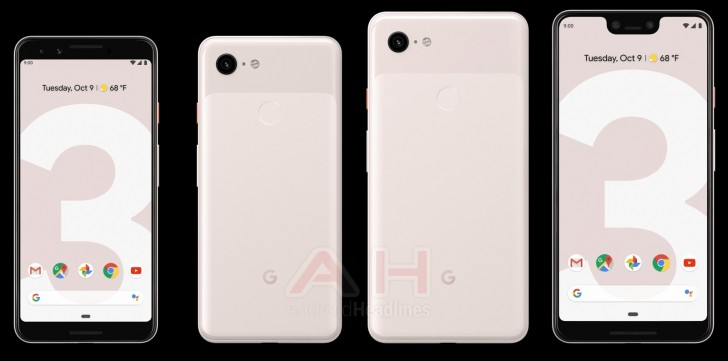 Google Pixel 3 and Pixel 3XL in Pale Pink Color
