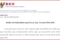 Formasi Resmi CPNS di Web sscn.bkn.go.id, Berikut ini 9 Persyaratan Dasar Bagi Pelamar CPNS 2018