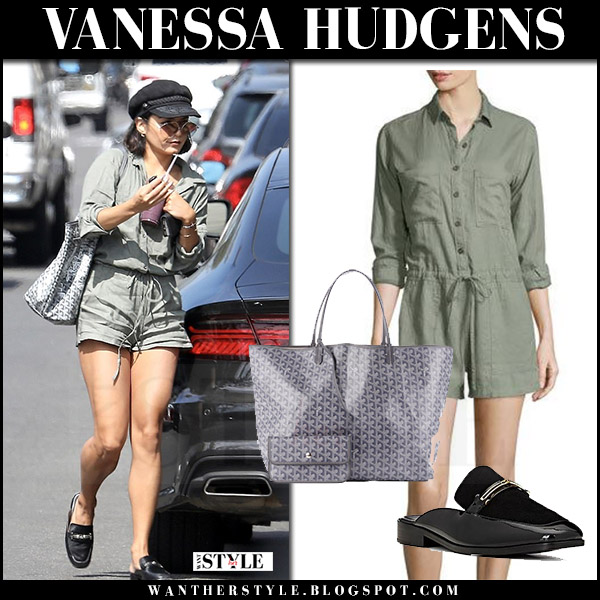 Vanessa Hudgens in green romper rails and black mules newbark what she wore august 4 2017