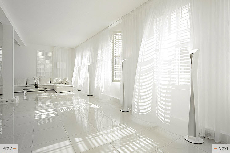 White Living Room Curtains: Made Of Metal: Matching Curtains And Walls?