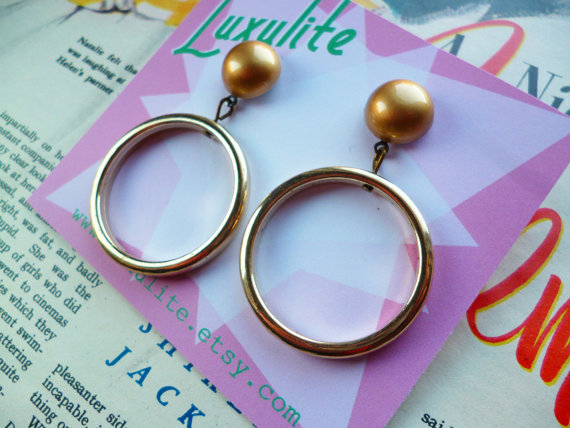 Hollywood Golden Age Glamour Girl drop hoop earrings handmade 1950s style by Luxulite