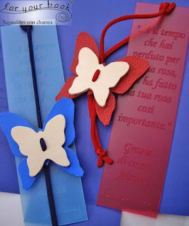 segnalibro inciso elastico ciondolo farfalla