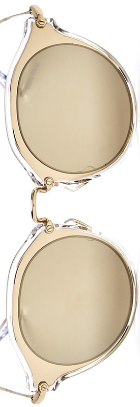 Miu Miu Mirrored Round Sunglasses, 56mm