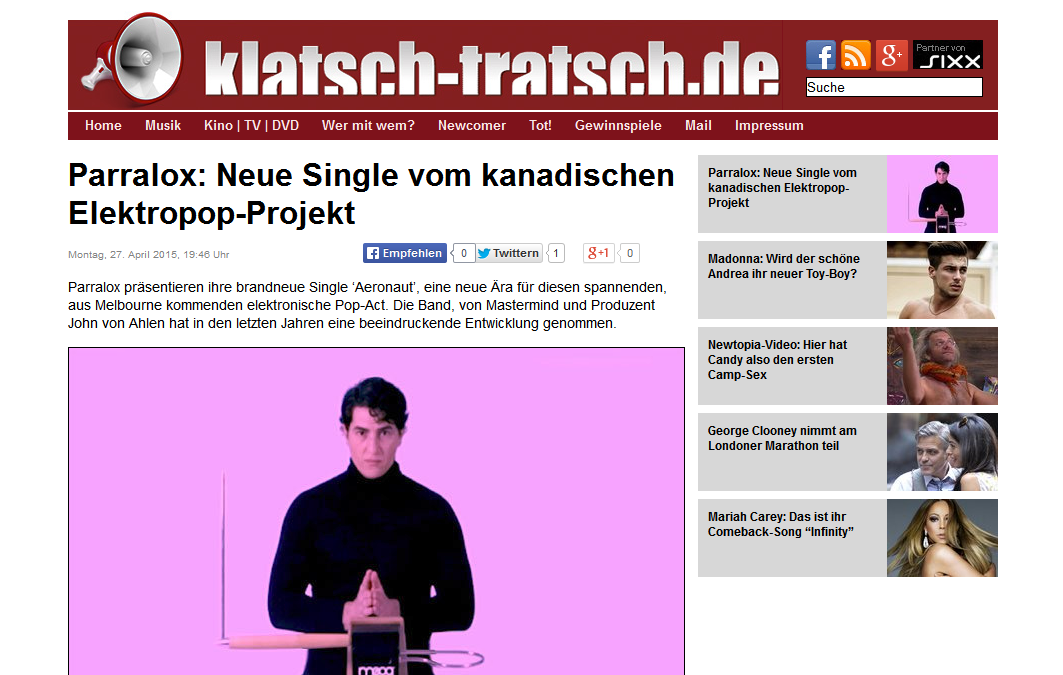 Klatsch-Tratsch (Germany) reviews Aeronaut