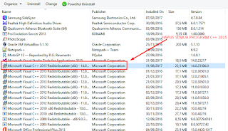 menguninstall MS Visual Studio C++ versi 2015