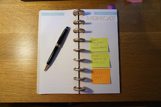 Showing how my list (neatly) looks on my book.