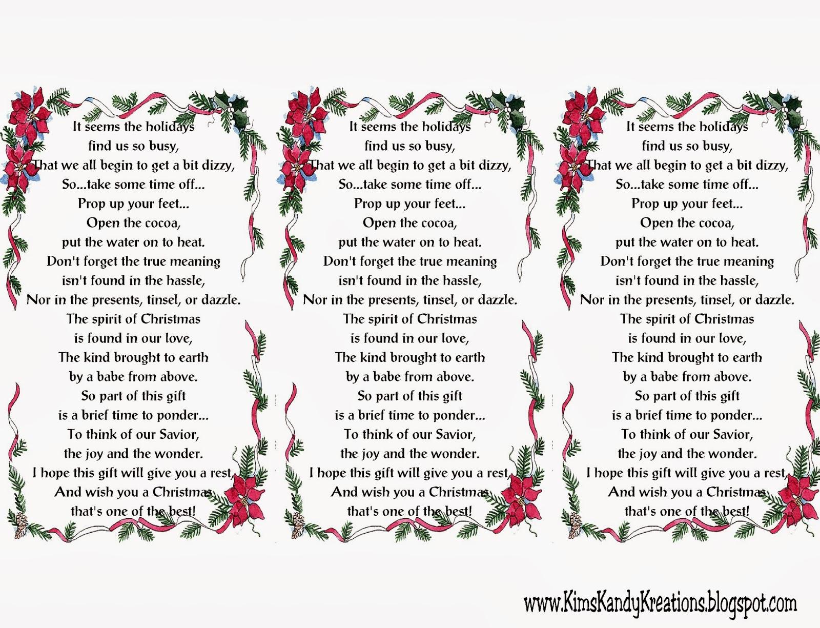 Kisses Free Printable: Easy Christmas Cocoa Gift Idea