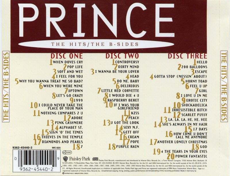 BENTLEYFUNK 2019: PRINCE The Hits,The B-Sides (3CD)