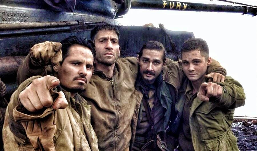 Michael Pena, Jon Bernthal, Shia LaBeouf şi Logan Lerman pe platourile de filmare ale dramei FURY