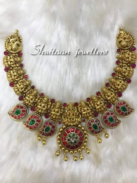 Lakshmi Necklace with Mango Kundan
