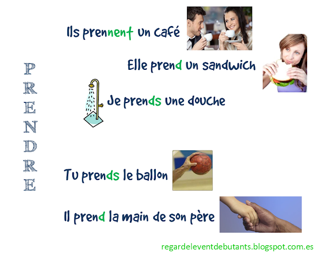 Czasowniki trzeciej grupy - czasownik prendre - zdania - Francuski przy kawie