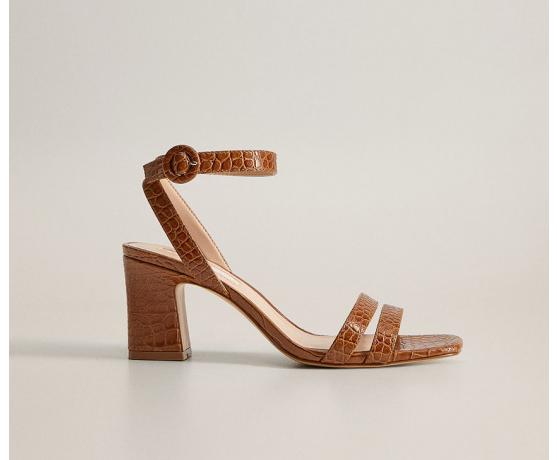 Sandale elongate de zi cu toc inalt maro cu imprimeu de reptila