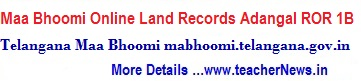TS Maa Bhoomi Online Land Records Pahani ROR 1B mabhoomi.telangana.gov.in