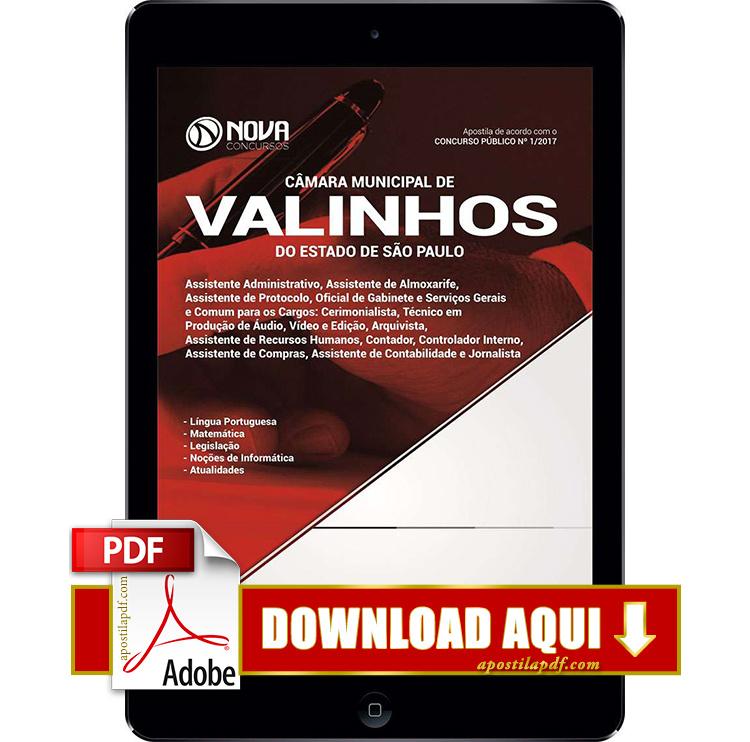 Apostila Câmera de Valinhos 2017 PDF Download Digital