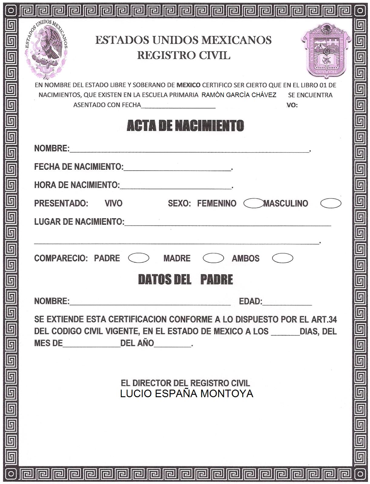Bonito Nombre Del Padre En El Certificado De Nacimiento Festooning ...