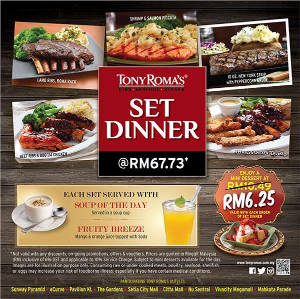 Tony Roma's Dinner Set Mini Dessert Discount Promo