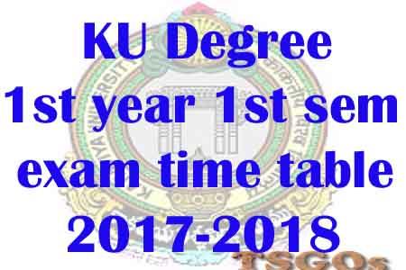 KU Degree 1st sem time table 2017-2018, 1st year exams