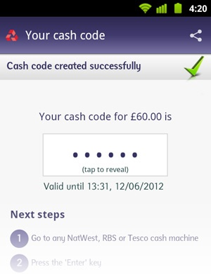 Ecran GetCash de RBS Mobile