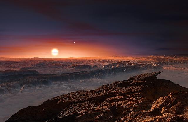 Hình ảnh đồ họa cho thấy góc nhìn từ bề mặt hành tinh Proxima b nhìn về ngôi sao lùn Proxima Centauri – ngôi sao gần hệ Mặt Trời nhất. Cũng có thể thấy trong hình, gần sao Proxima Centauri là hệ sao đôi Alpha Centauri AB. Credit: ESO/M. Kornmesser.