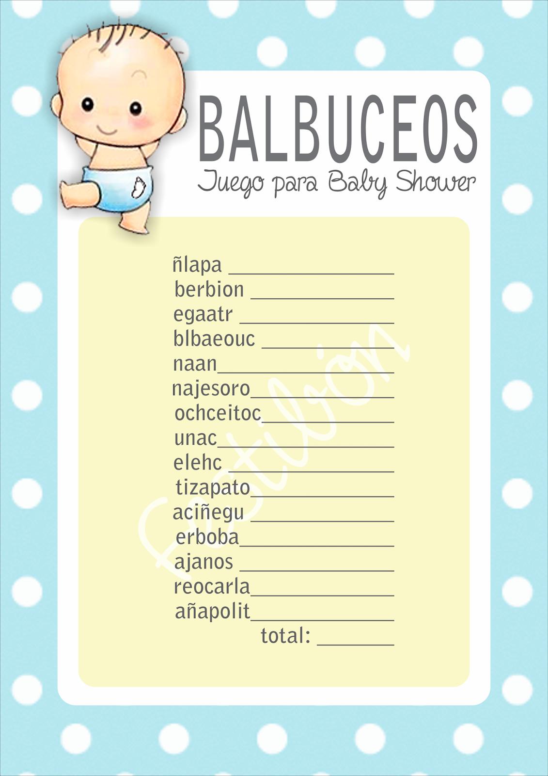 Balbuceos Juegos Para Baby Shower Para Imprimir Juegos De Baby