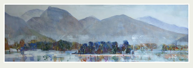 A watercolour painting of Derwentwater and Causey Pike by Lancashire and Lake District Artist Rob Miller