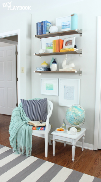 Rustic IKEA shelves at Bridget's place!